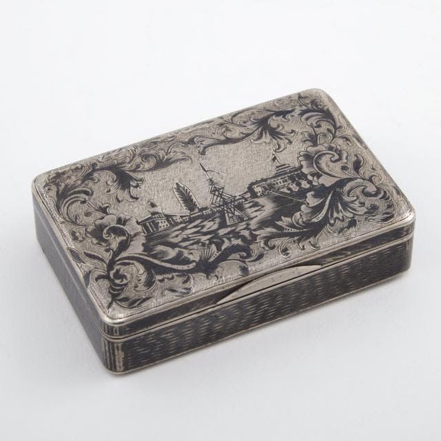 Niello Silver Snuff Box