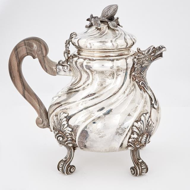 Italian Sterling Silver Rococo Style Teapot