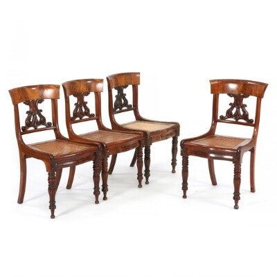 A Set Of Four Danish West Indian Mahogany Sidechairs With Wickerwork Seats.  C. 1840. (4)